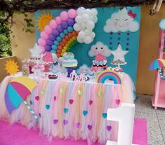 Rain of love party: the decoration for this birthday - Fashion Parties - Rain of love party: the decoration for this birthday – Fashion Parties - Rainbow Unicorn Party, Rainbow Birthday Party, Unicorn Birthday Parties, Baby Birthday, First Birthday Parties, Birthday Party Decorations, Baby Shower Decorations, Girl Parties, Baby Unicorn