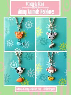 Polyclay Animals with food necklaces