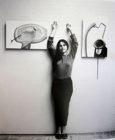 """Eva Hesse with """"Legs of an Aching Ball"""" and """"An Ear in a Pond,"""" 1965 A key figure in establishing the postminimalist art movement of the Hesse reinvigorated modern sculpture with new use of. Eva Hesse, Robert Morris, Action Painting, Portraits, Expo, Alberto Giacometti, Art Studios, Artist At Work, Art History"""