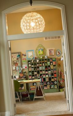 another great sewing room + organization Craft Room Storage, Room Organization, Craft Rooms, Fabric Storage, Storage Shelves, Storage Ideas, Storage Spaces, Space Crafts, Home Crafts