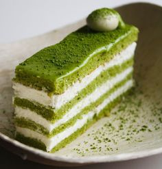Matcha-Almond Génoise Layer Cake. Fancy AF.