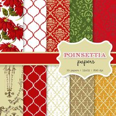 Poinsettia Vintage Christmas holiday digital paper by hellolovetoo, $5.00
