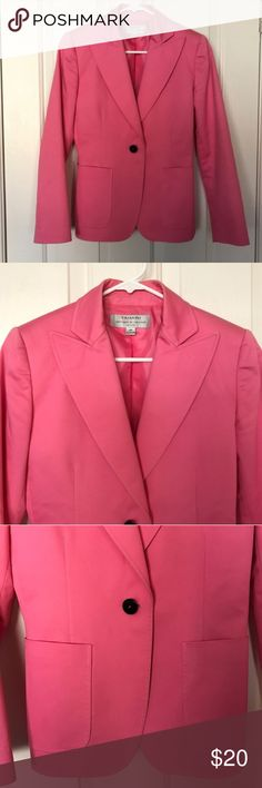 Pink Blazer Tahari 2P Suit Jacket Coat Beautiful condition. Too big on me after losing weight. Fits TTS. Single button. Soft bubblegum pink, not HOT pink but a definite statement piece. One small ink mark on back of sleeve as pictured. Signs of light wear.  Used to work in an office and now I work from home. Listing lots so being brief but I answer questions promptly! Tahari Jackets & Coats Blazers
