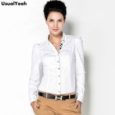 New 2017 Women Fashion Casual OL Long Sleeve Button Body Shirt Blouse Solid Color Bluas Blue White
