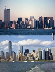 My dad took photos of the Manhattan Skyline 21 years apart from almost the same angle.