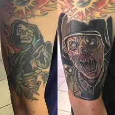 Photo by (tattooistartmag) on Instagram | #coveruptattoo #callofdutyww2 #zombie #horrortattoo #tattoo #tattooart #tattooartist #tattooisartmag #inked #inkedmag #freshlyinked #skinart #inkedshop #skinart_mag #sullen #sullenartcollective #sullenclothing #tattoodo #tattooedandemployed #tattooed_body_art #tattoo_artwork #support_good_tattooing #thebesttattooartists #inkfreakz #inkedgirls #inklife #inkedup #tattoo_art_worldwide #the_inkmasters Horror Tattoos, Inked Shop, Cover Tattoo, Skin Art, Inked Girls, Tattoo Artists, Body Art, Artwork, Instagram