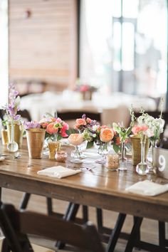 Simple Multi Vase Colorful Centerpieces | Brooke Images Photography