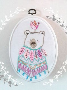 Embroidery pattern Pdf. Bear and bird embroidery design.Woodland animal. Hand embroidery. DIY childrens art.Nursery decor.Whimsical…