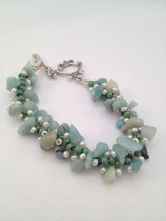 Gemstone Chips Spiral Bracelet turquoise by XxxWithyouinmindxxX, £12.00