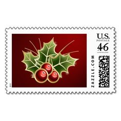 Shining Holly Berry #Christmas design #Postage Stamp