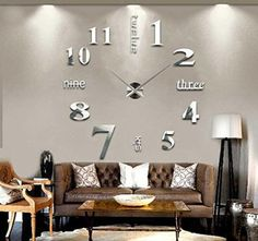 Amazon.com - Asunflower® 3D Large Frameless Wall Clock Style Watches Hours Mirror Sticker Big Watch DIY Room Home Decorations -