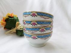 Roses & Blue Garland CG Limoges Cafe Au Lait Porcelain Bowl by pentyofamelie on Gourmly