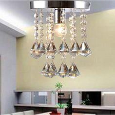 Acrylic Crystal Chandelier Type Ceiling Fan Light Kit