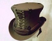 CUSTOM MADE Chocolate Canvas Captain Spaulding Lace-Up Top Hat Steampunk