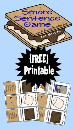 FREE Sentences game for Kindergarten, 1st Grade, 2nd grade, and 3rd grade students. This is such a fun card game to help kids to learn what forms a sentence while building Sentence S'mores. Perfect for Homeschool Language Arts