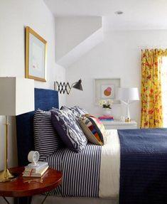 blue-white-eclectic-bedroom-bedding-emily-henderson-hgtv-before-after-style-mix-design-stripes-navy-indigo guest bedroom Home Bedroom, Bedroom Decor, Bedroom Ideas, Bedroom Clocks, Bedroom Night, Guest Room Decor, Bedroom Styles, Guest Bedrooms, Beautiful Bedrooms