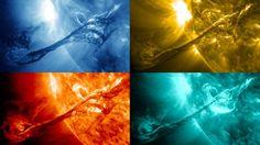 Como afectan las manchas solares al planeta: Cuatro imágenes de una eyección de masa coronal en el sol en 2012 en cuatro longitudes de onda luminosa tomadas por el Observatorio de Dinámica Solar de la NASA (SDO). Cada longitud de onda de la luz corresponde generalmente a material solar a una temperatura particular, de manera que los científicos puedan comparar imágenes para conocer la composición del material eyectado