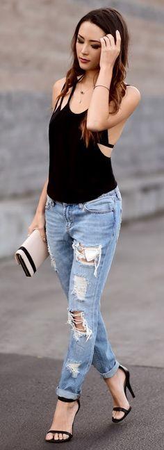 a2887bd10492b MODA - MULHERES DE CALÇA JEANS Calca Jeans Skinny, Looks Estilosos, Calça  Jeans Rasgada