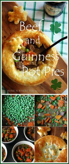Beef and Guinness Pot Pie! A celebration in a bowl with puff pastry shamrocks | homeiswheretheboatis.net #StPatricksDay #recipe