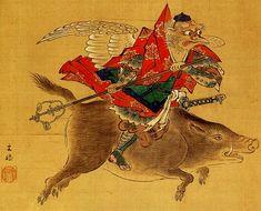 Japanese Tengu   Crow Tengu Riding Boar (Karasu Tengu 烏天狗騎猪 )