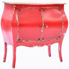 Introduce flair and personality to a room with this distressed Red Bombay cabinet.