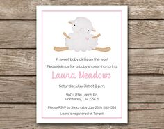 Perfect PRINTABLE Lamb Baby Shower Invitation Sheep By PaperHouseDesigns