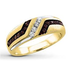 Gorgeous men's ring!  Jared Brown/White Diamonds 3/8 ct tw Men's Ring 10K Yellow Gold- Men's Diamond #Jewelry