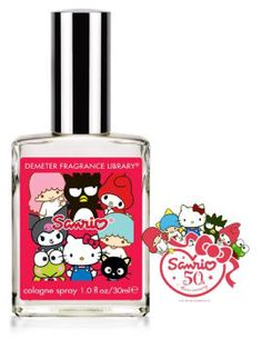 "Sanrio 50th Anniversary Perume, by Demeter. ""The Sanrio signature fragrance is inspired by the scent of a Sanrio store, a combination of Japanese fruit flavored gum and scented erasers."""
