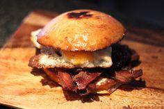 Egg & bacon sandwich on homemade brioche bun