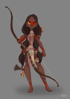 character design-tribe girl, Chen Tang on ArtStation at https://www.artstation.com/artwork/AQxQz