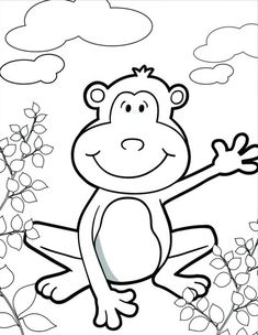 Monkey, : happy-monkey-coloring-page. Monkey Coloring Pages, Animal Coloring Pages, Coloring Pages For Kids, Kids Coloring, Zoo Animals, Animals For Kids, Free Monkey, Animal Meanings, Monkeys Band