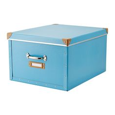 FJÄLLA Box with lid, blue blue 15 ¾x22x11