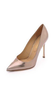 Sergio Rossi Godiva Pointed-toe Pumps - mirrored leather
