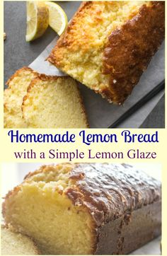 YUMMY A tangy delicious sweet Easy Lemon Bread Recipe. A moist sweet homemade loaf with a simple glaze, perfect for every occasion. Lemon Desserts, Lemon Recipes, Just Desserts, Delicious Desserts, Dessert Recipes, Best Bread Recipe, Easy Bread Recipes, Baking Recipes, Quick Bread