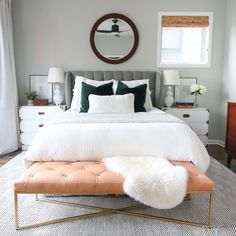This leather bench from @article is a dream! Absolutely love what it brings to this gray and neutral bedroom space.