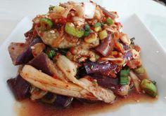 Eggplant side dish (Gaji-namul) Maangchi Recipes, Tofu Recipes, Healthy Eating Recipes, Side Dish Recipes, Asian Recipes, Vegetarian Recipes, Cooking Recipes, Vegetarian Dish, Recipes