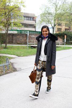 Tamu McPherson, beautiful woman! I love the loose trouser, layered leather jacket, everything basically!