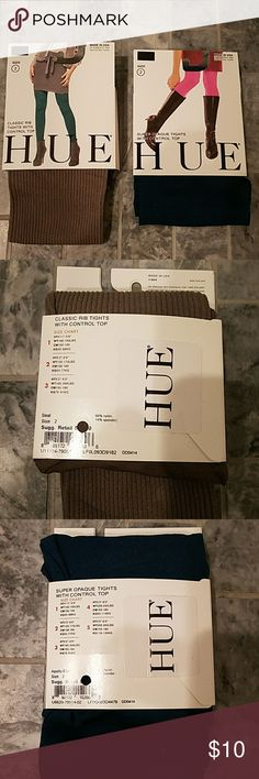 """HUE Control Top Tights; 1 rib 1 opaque - NIB HUE control top tights 1 ribbed 1 opaque - NIB. One pair of classic rib tights with control top in a size 2 in a grayish color """"Cold Steel"""".  One pair of super opaque tights with control top in """"Apollo blue"""". Listing is for both pairs of tights. Comes from a very clean smoke and pet-free home. Bundle to save. Reasonable offers encouraged. HUE Accessories Hosiery & Socks"""