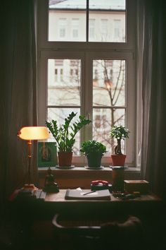 window, desk, and lamp image