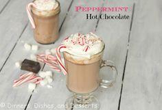 Peppermint Hot Chocolate | @Dinnersdishesdessert