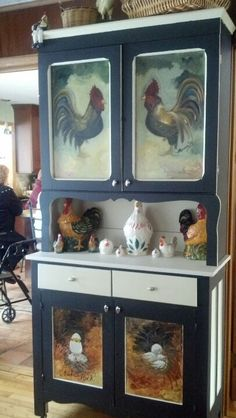 hand painted chickens