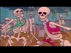 'Danse Macabre' Halloween cartoon. This originally aired on PBS in the 1980s featuring a poorly made up vampire host to introduce and discuss.  'Danse macabre', by French composer Camille Saint-Saëns, was an art song for voice and piano (first performed in 1872) with a French text by the poet Henri Cazalis which is based in an old French superstition. Two years later, the composer expanded and reworked the piece into a tone poem for orchestra, replacing the vocal line with a solo violin.