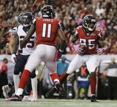 Atlanta Falcons wide receiver Leonard Hankerson (85) scores a touchdown against the Houston Texans during the first half of an NFL football game, Sunday, Oct. 4, 2015, in Atlanta. (AP Photo/David Goldman)