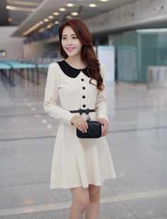 Sweet Korean Doll Collar Solid Color Slim Fit Long Sleeve Chiffon Dress For Women
