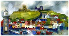 Kate Lycett - exhibition opening October at the Chantry House Gallery in Ripley, I am offering the chance to win a limited edition, hand finished print of this painting of Whitby. To enter this giveaway please help to spread the word, and share or & Yorkshire Dales, Building Painting, Painting Art, Paintings, Whitby Abbey, Hidden Places, Places Open, Little Paris, Arte Popular