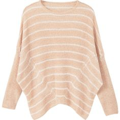 MANGO Stripe Textured Sweater ($46) ❤ liked on Polyvore featuring tops, sweaters, pink top, round top, mango sweater, long sleeve tops and striped top