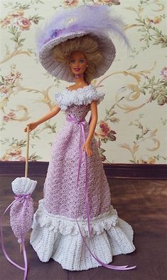 Barbie Dress, Barbie Gowns, Barbie Doll, Crochet Doll Dress, Crochet Barbie Clothes, Victorian Costume, Victorian Dolls, Lady Violet, Barbie Patterns
