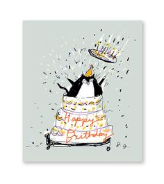 Giant Cake - Cat Birthday Card - Funny Birthday Card Cat