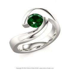 Twist Engagement Ring #green #tourmaline