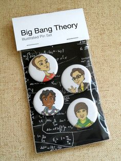 Pin back Buttons Illustrated Big Bang Theory by RitaVanTassel, $6.95